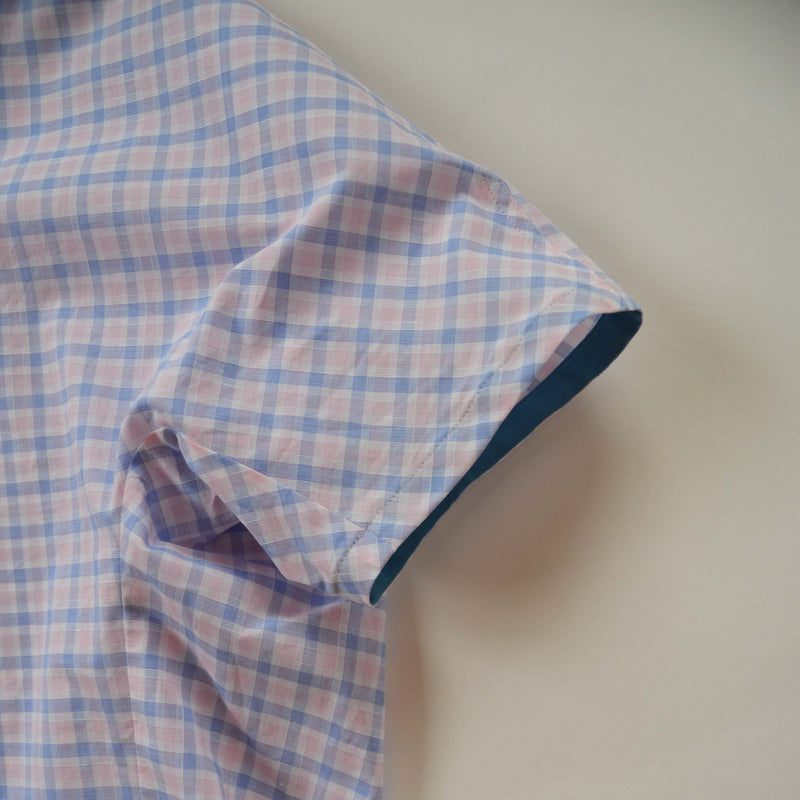 CURVY NECK SHIRT PINK CHECK