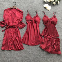 4-Piece Sexy Sleepwear Satin Pajamas