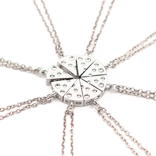 8 piece friendship pizza necklace