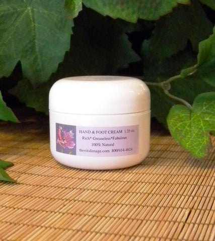 Hand & Foot Cream, 1 ¼ oz.  All natural, non-greasy cream boosts your hand and foot skin to soften, relax, exfoliate and normalize calluses, relieve dryness, lines and wrinkles and adds elasticity and recoil.