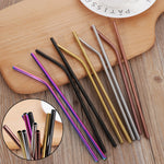 Colorful Stainless Steel Straws - 4pcs