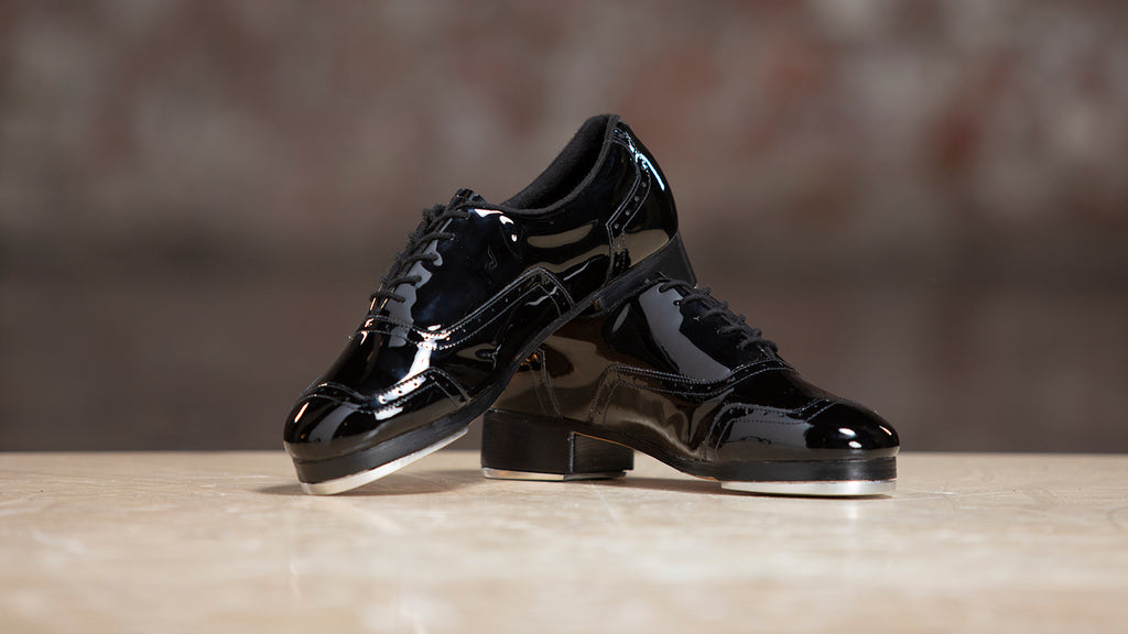 A pair of Jason Samuels Smith Tap Shoes in Black Patent