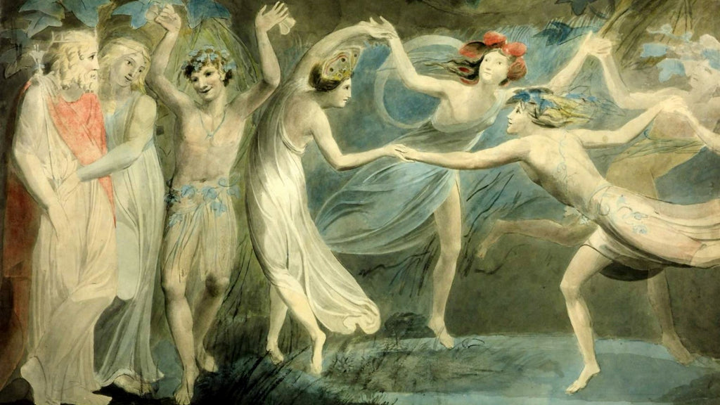 The painting titled Oberon, Titania and Puck with Fairies Dancing by William Blake