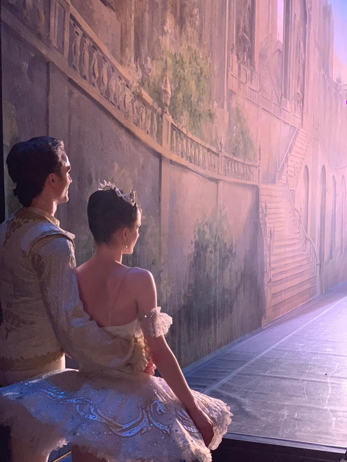 Ballet dancer Anna Rose O'Sullivan waiting in the wings with her partner Matthew Ball to go on stage and perform her debut show