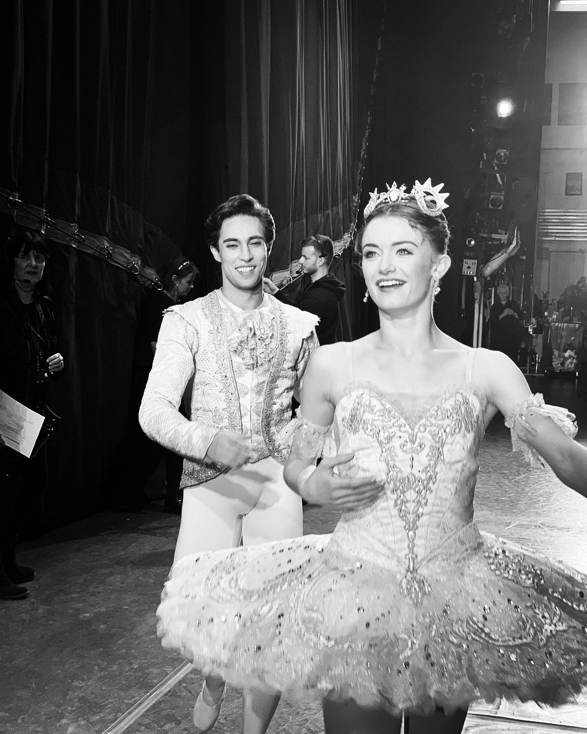 Dancer Anna Rose O'Sullivan coming off stage wearing costume with her partner James Hay after performing