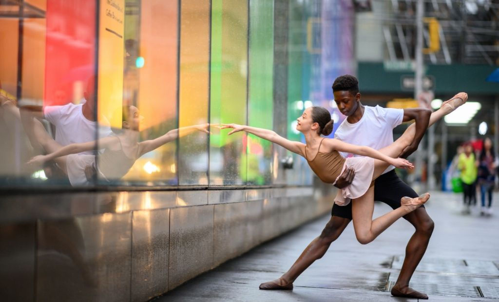 Two BLOCH dancers dancing through the streets of New York City, shot by Jordan Matter