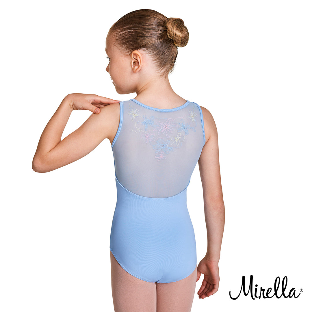 The back of a young ballet dancer wearing the Mirella embroidered mesh back tank leotard in blue