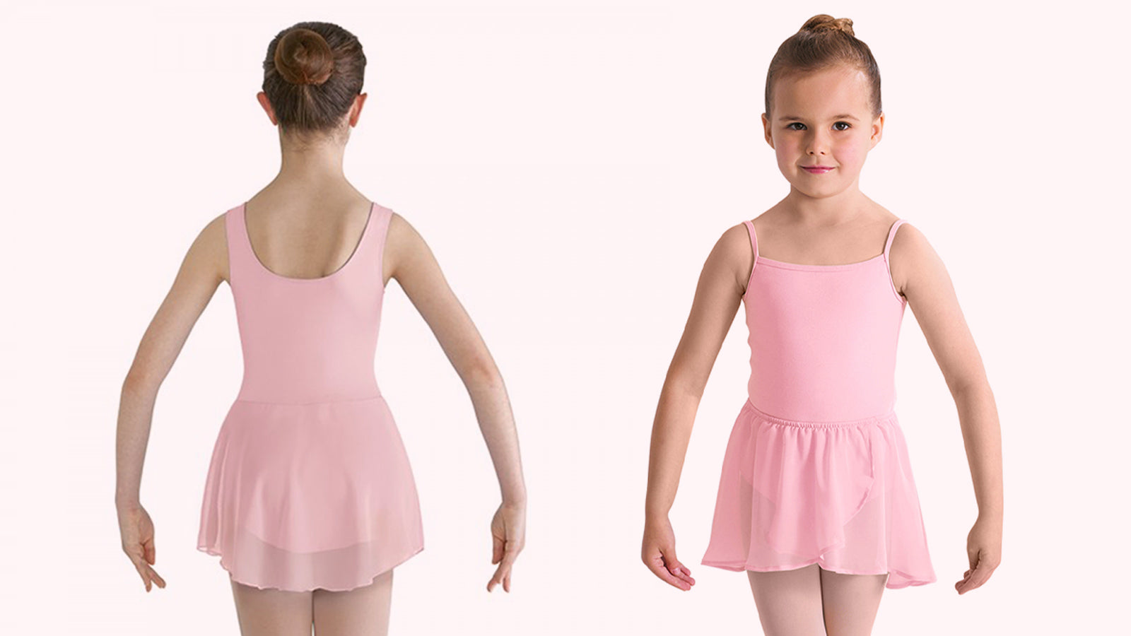 A front and back view of a young dancer wearing a pink skirted BLOCH leotard