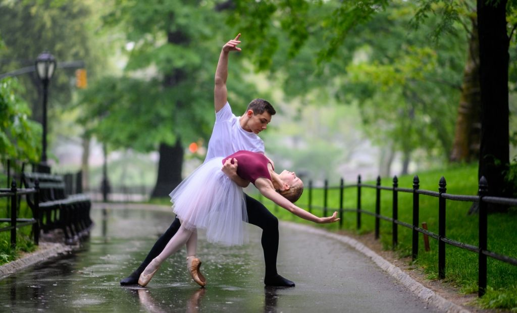 Two BLOCH Young Artists ballet dancing through Central Park, shot by Jordan Matter