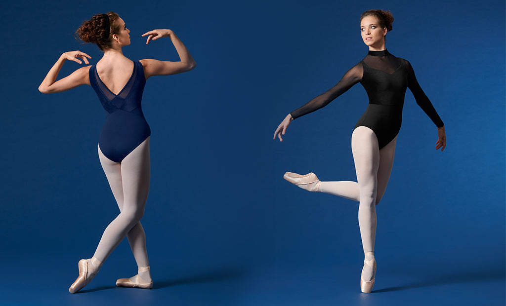 Two ballet dancers pointing wearing BLOCH Performance leotards