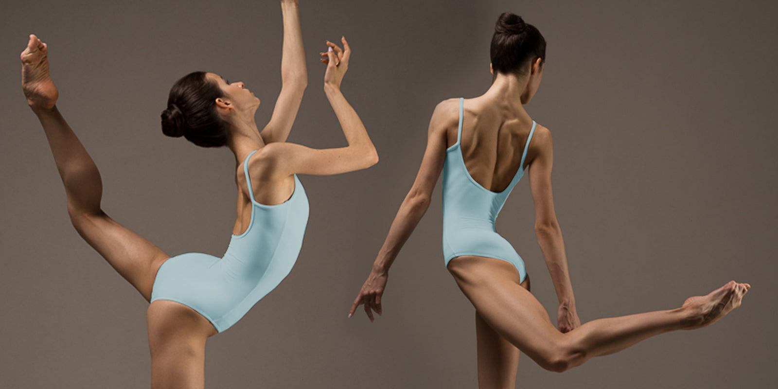 Ballet dancer Maria Khoreva dancing in the studio wearing the BLOCH Sissone leotard in Pastel Blue