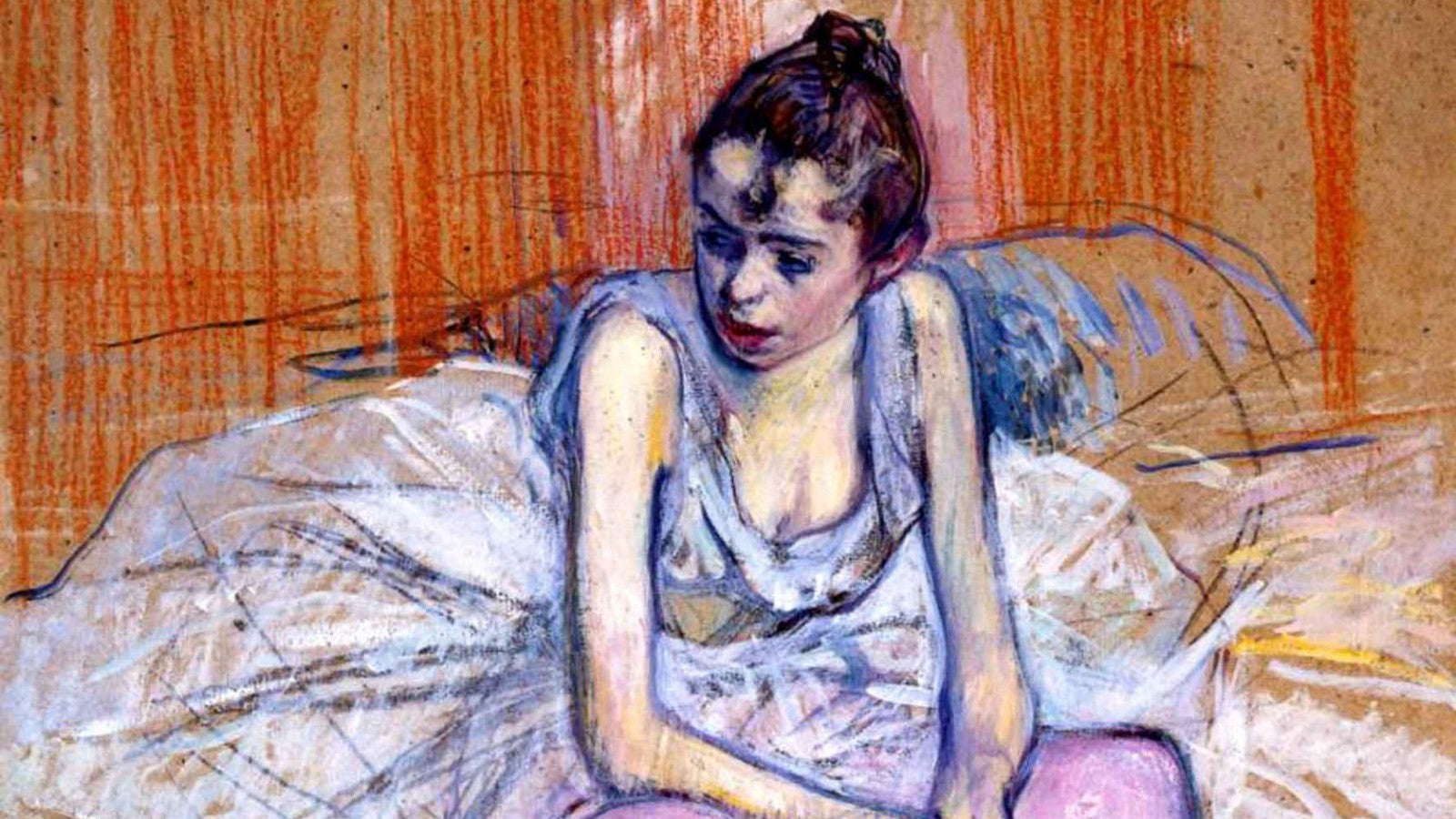 Seated Dancer in Pink Tights painting by Henri de Toulouse-Lautrec (1890)