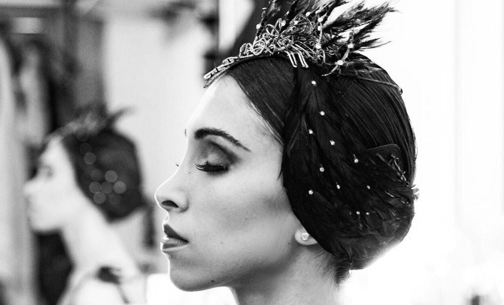 Ballet dancer Yasmine Naghdi in her dressing room getting ready to go stage before a performance
