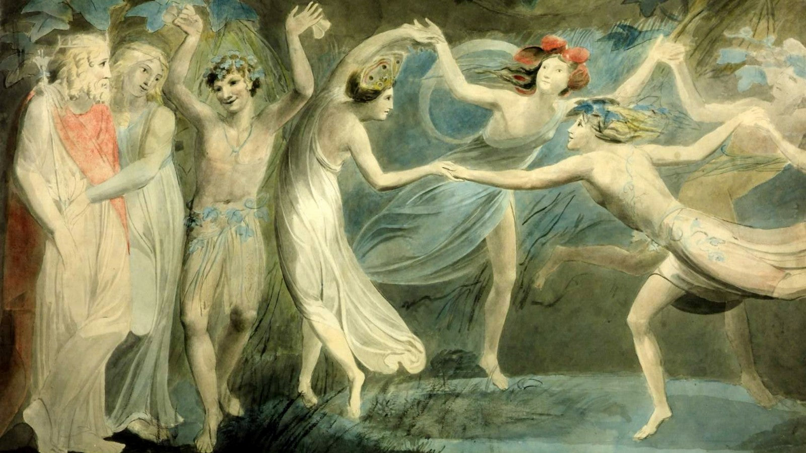 Oberon, Titania and Puck with Fairies Dancing - William Blake (1786)