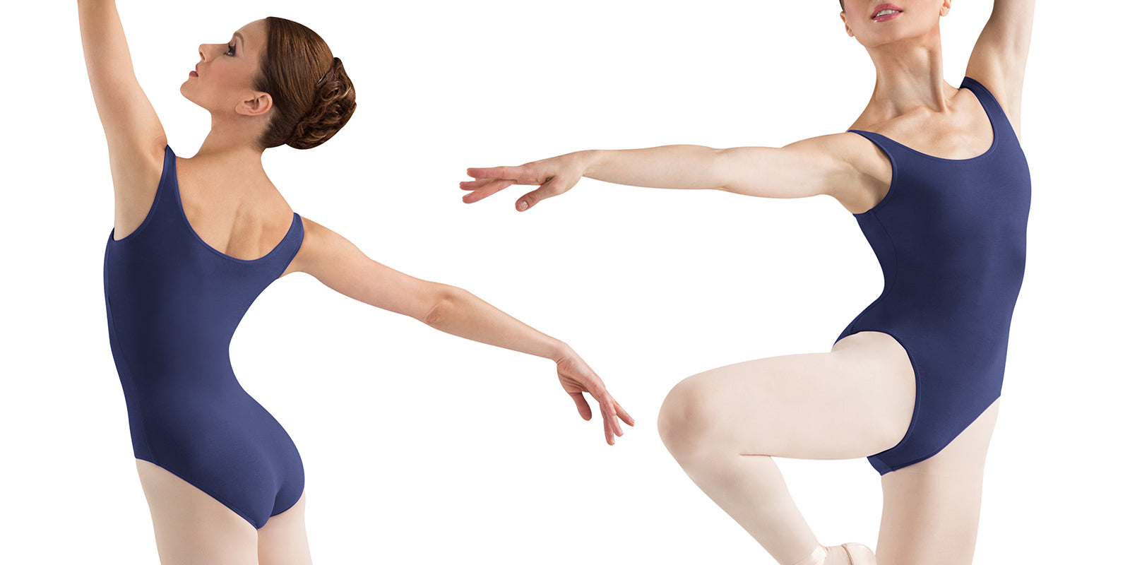 Ballet dancer Irina Dvorovenko dancing in BLOCH navy blue tank leotard