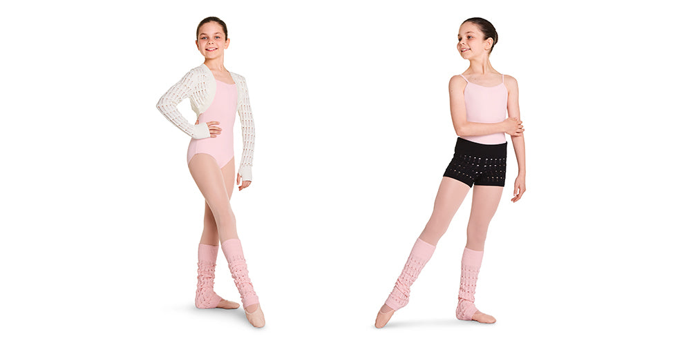 Two dancers wearing BLOCH childrens knitted warm ups