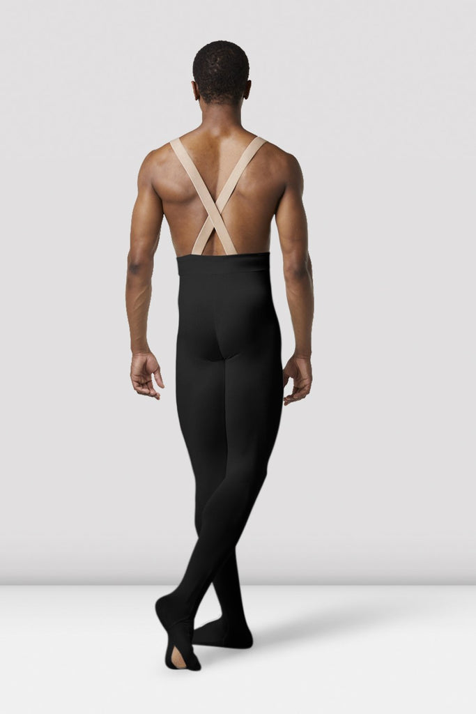 Black Bloch Mens Performance Footed Dance Tight on male model in classical position with arms by side facing back