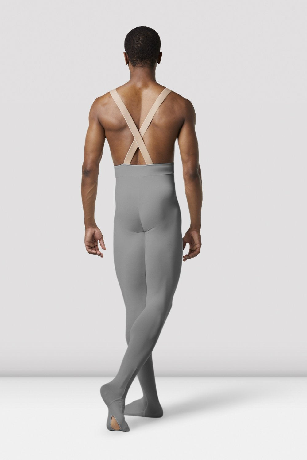 Gun metal Bloch Mens Performance Footed Dance Tight on male model in classical position with arms by side facing back