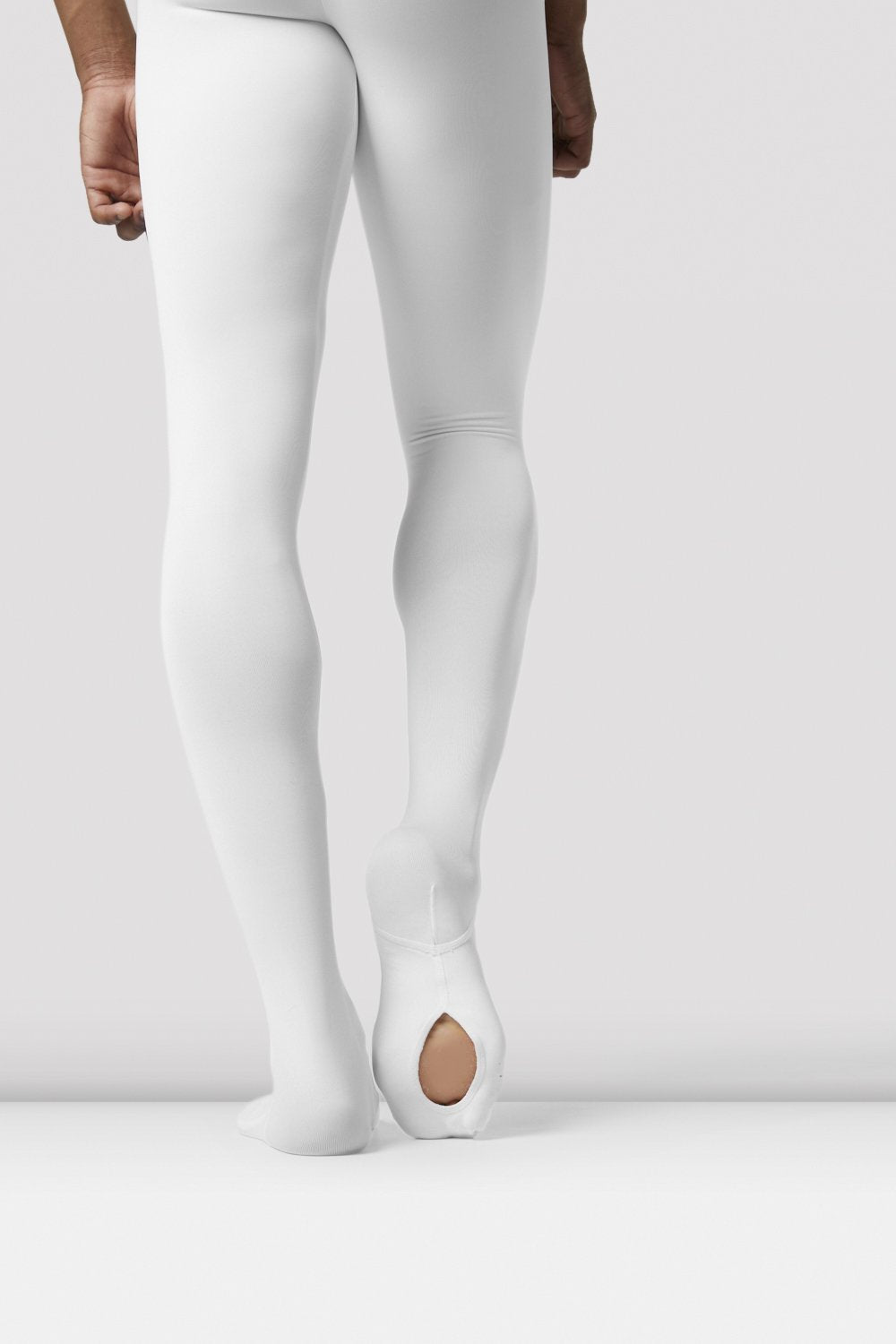 White Bloch Mens Performance Footed Dance Tight on male model facing back focus on sole of right foot