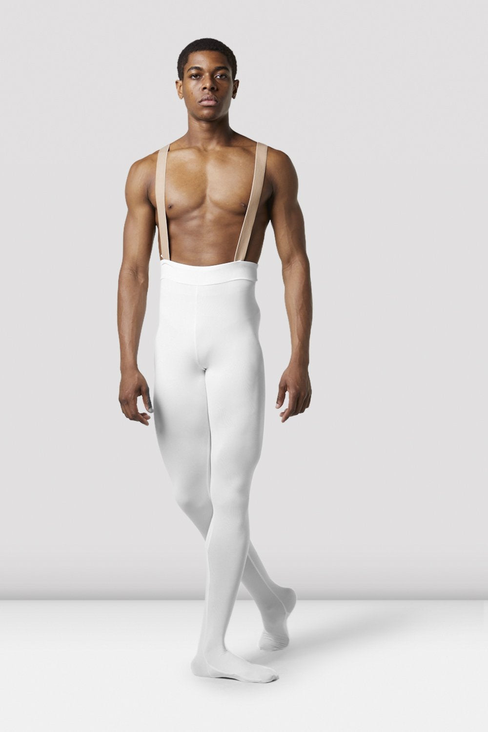 White Bloch Mens Performance Footed Dance Tight on male model in classical position with arms by side