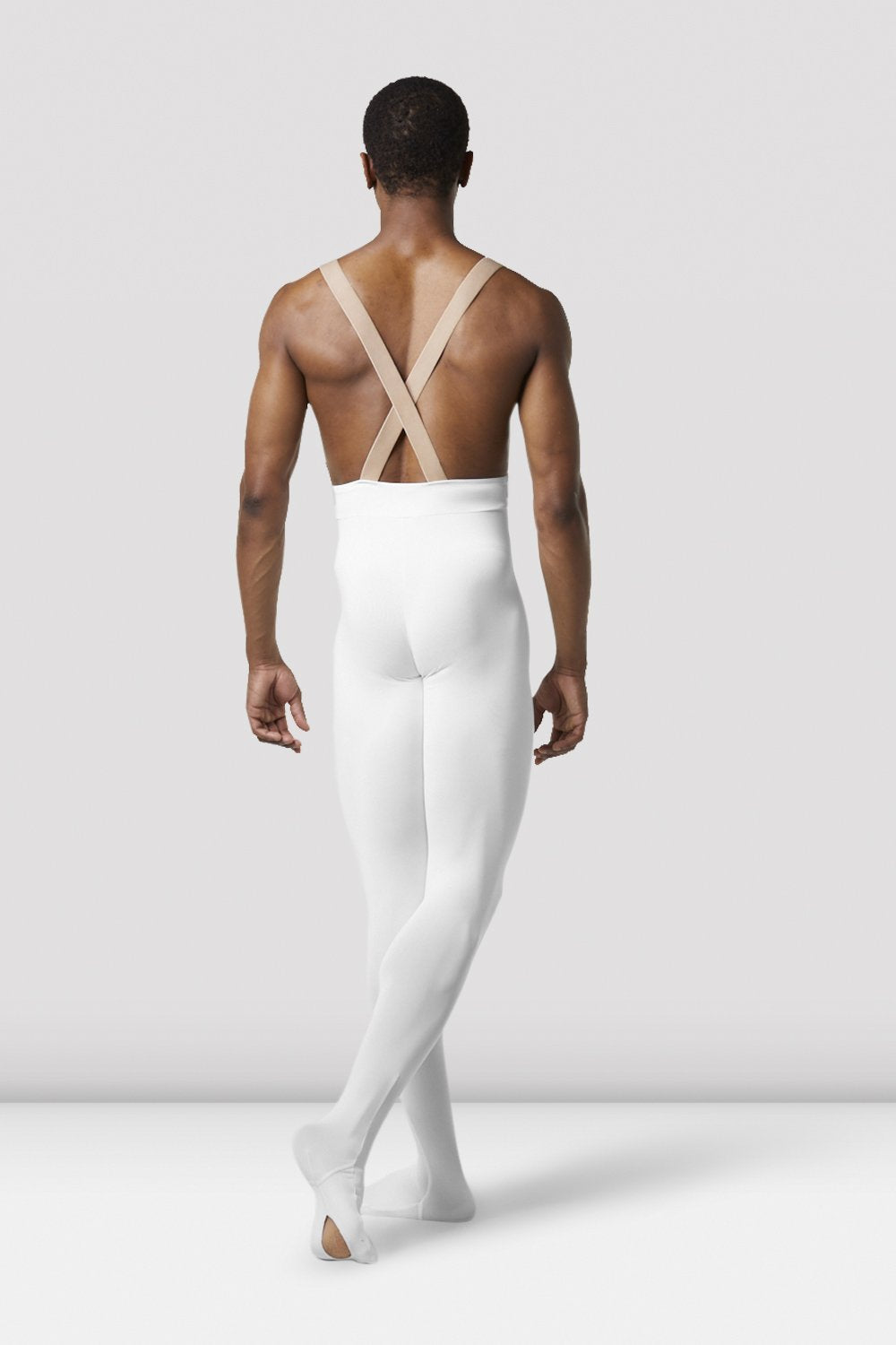 White Bloch Mens Performance Footed Dance Tight on male model in classical position with arms by side facing back
