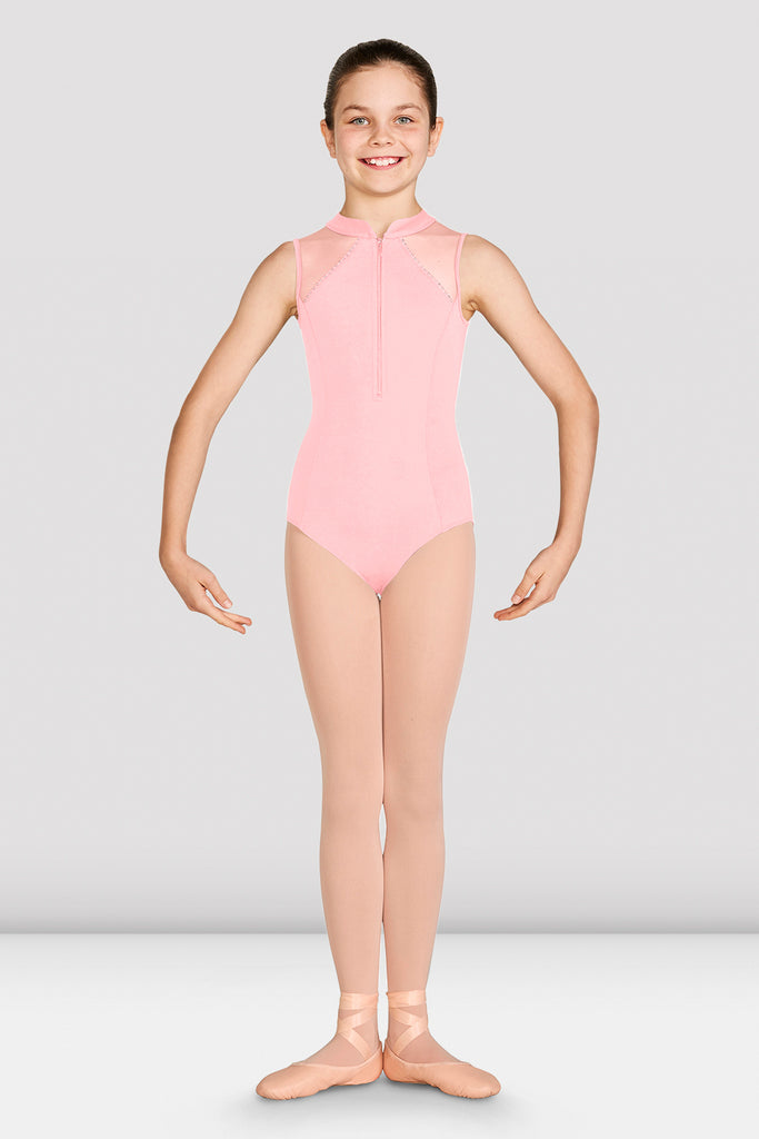 Girls Misty Zip Front Mesh Back Leotard