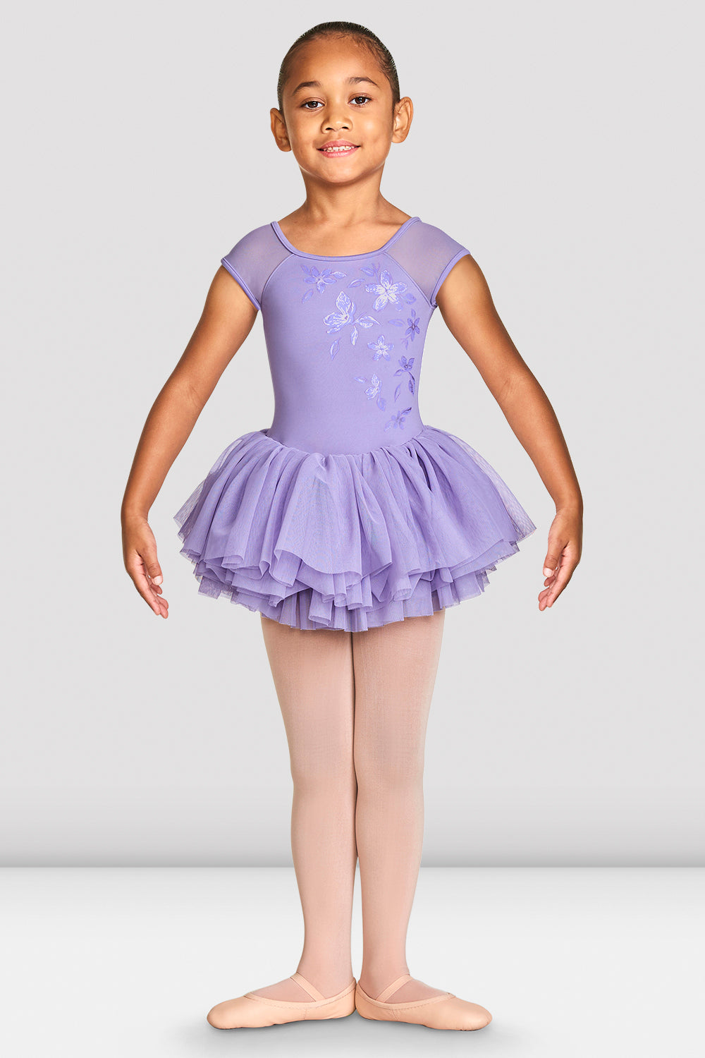 Girls Shirina Mesh Cap Sleeve Tutu Leotard