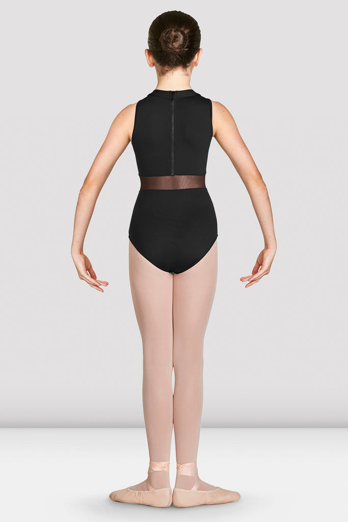 Black Bloch Girls Adrika High Neckline Zip Back Tank Leotard on female model in first position with arms in demi bras facing back