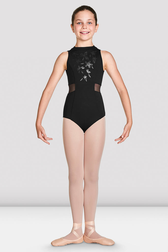 Black Bloch Girls Adrika High Neckline Zip Back Tank Leotard on female model in first position with arms in demi bras