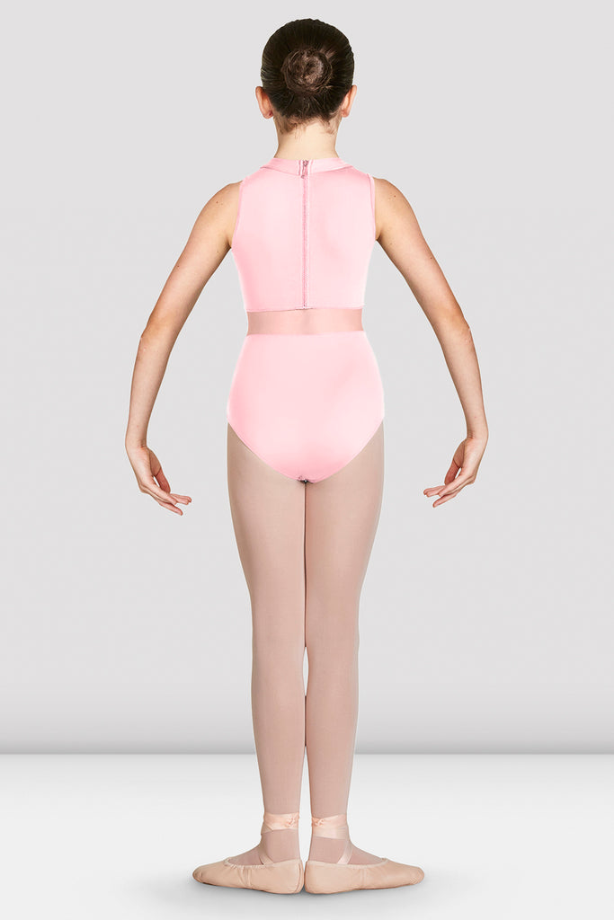 Candy Pink Bloch Girls Adrika High Neckline Zip Back Tank Leotard on female model in first position with arms in demi bras facing back