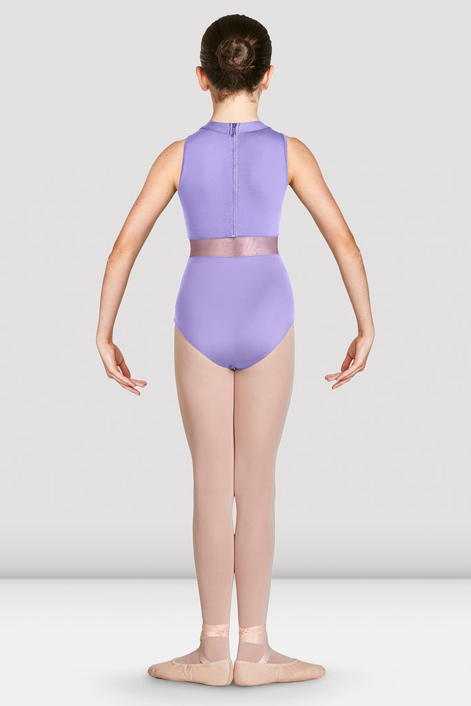 Lilac Bloch Girls Adrika High Neckline Zip Back Tank Leotard on female model in first position with arms in demi bras facing back