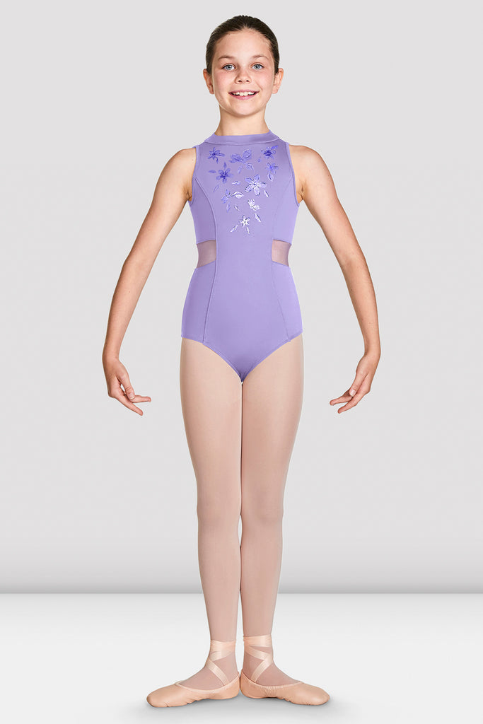 Lilac Bloch Girls Adrika High Neckline Zip Back Tank Leotard on female model in first position with arms in demi bras