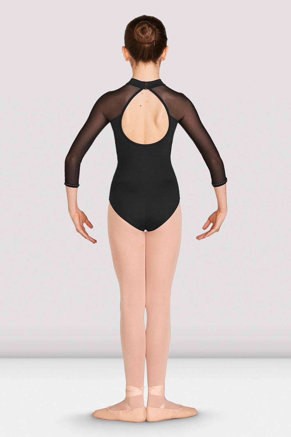 Girls Kaylee Mesh Long Sleeve Leotard