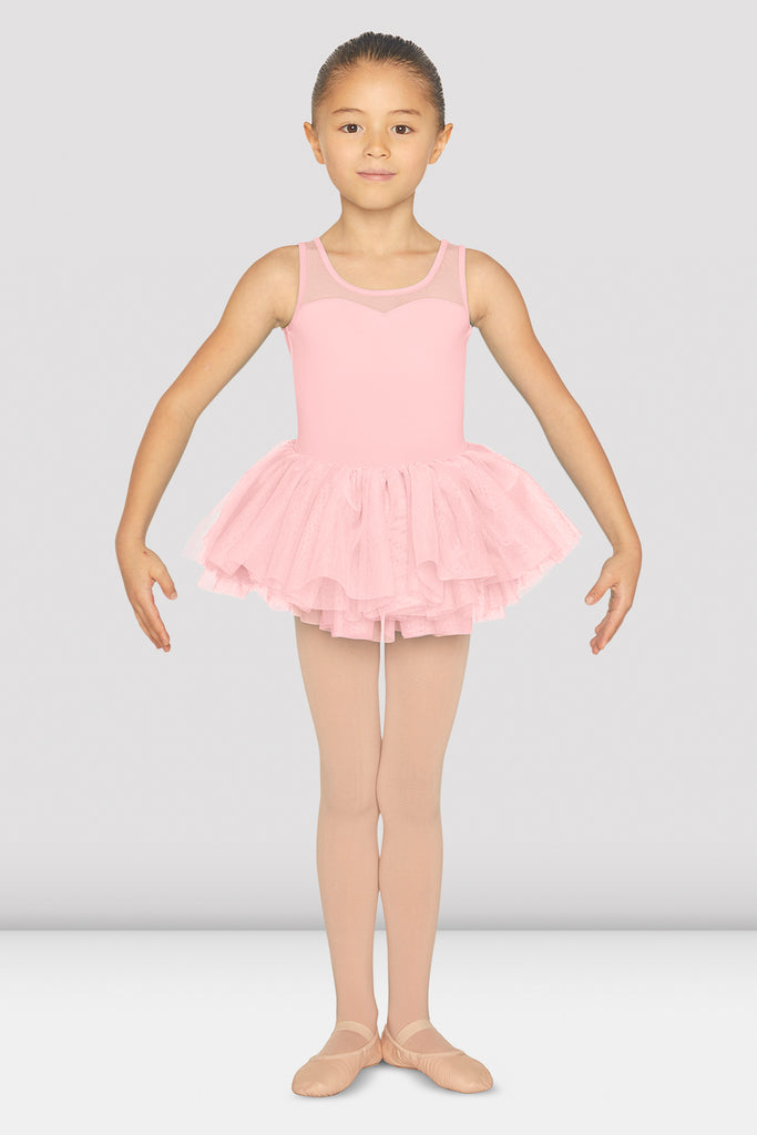 Girls Mesh Back Tank Tutu Leotard