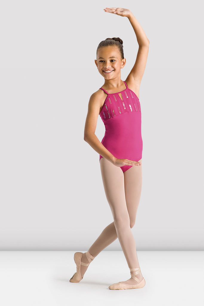 Hot Pink Bloch Girl Gyassi Sequin Halter Leotard on female model in classical position with arms in crossed fourth