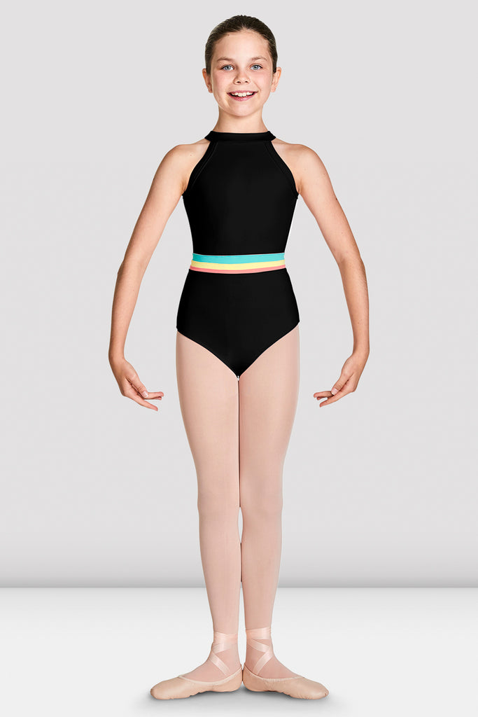 Black Bloch Girls Aisha High Neckline Halter Leotard feet in first positon with arms in demi bras