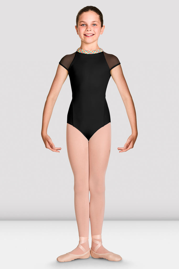 Black Bloch Girls Alisha High Neckline Zip Back Cap Sleeve Leotard on female model feet in first position with arms in demi bras