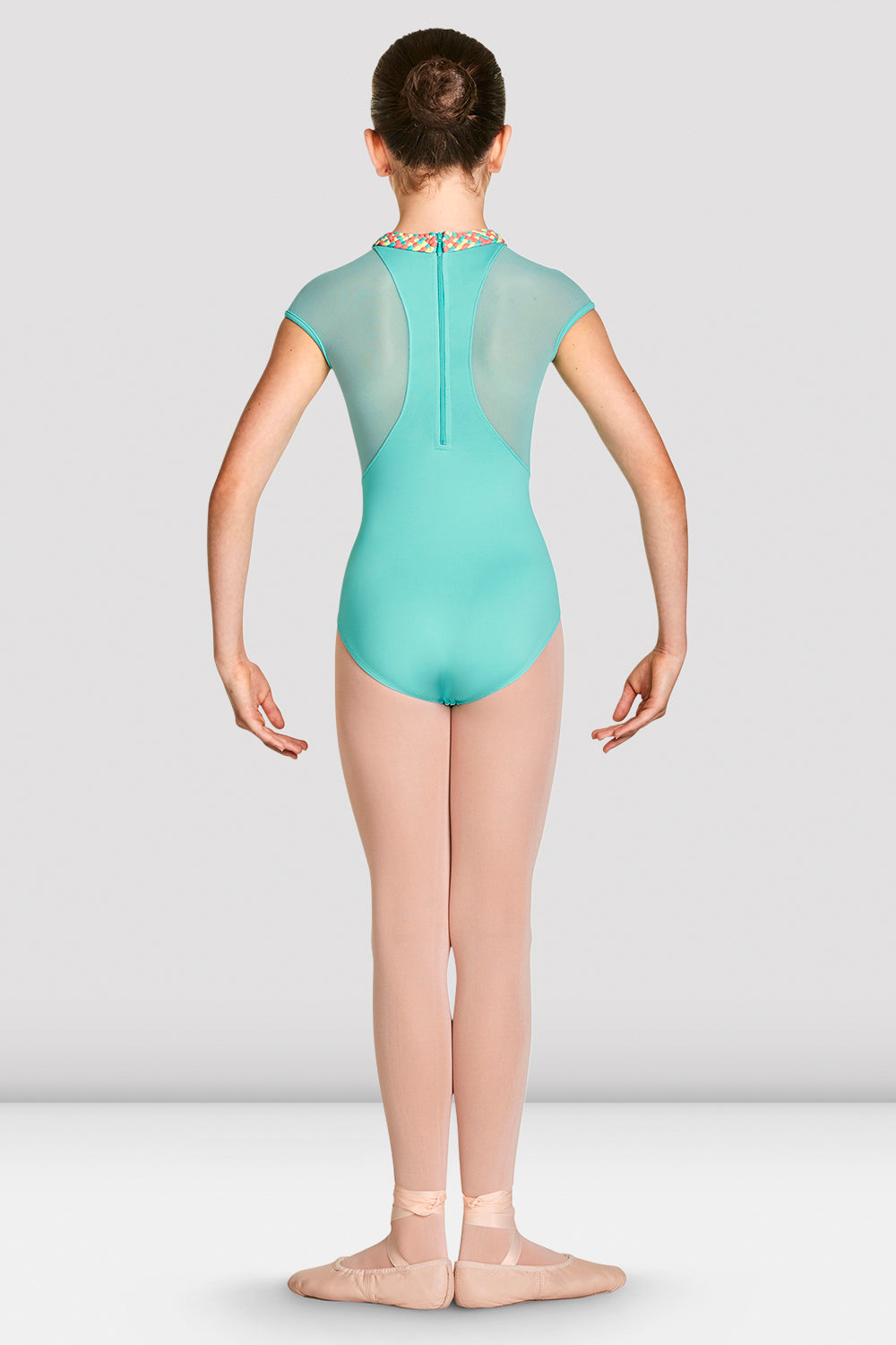 Blue Radiance Bloch Girls Alisha High Neckline Zip Back Cap Sleeve Leotard on female model feet in first position with arms in demi bras facing back