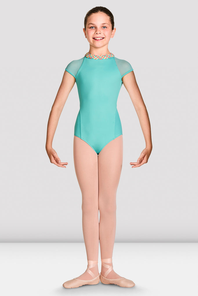 Blue Radiance Bloch Girls Alisha High Neckline Zip Back Cap Sleeve Leotard on female model feet in first position with arms in demi bras