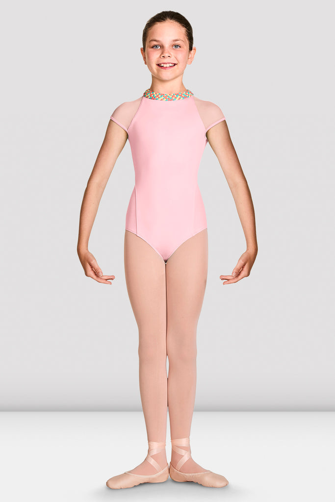 Candy Pink Bloch Girls Alisha High Neckline Zip Back Cap Sleeve Leotard on female model feet in first position with arms in demi bras