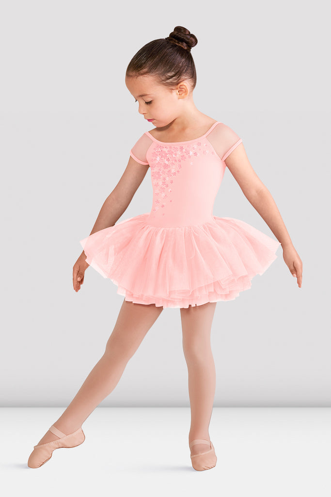Pink Blossom Bloch Girls Abelle Mesh Tutu Leotard on female model right leg tendu a la seconde