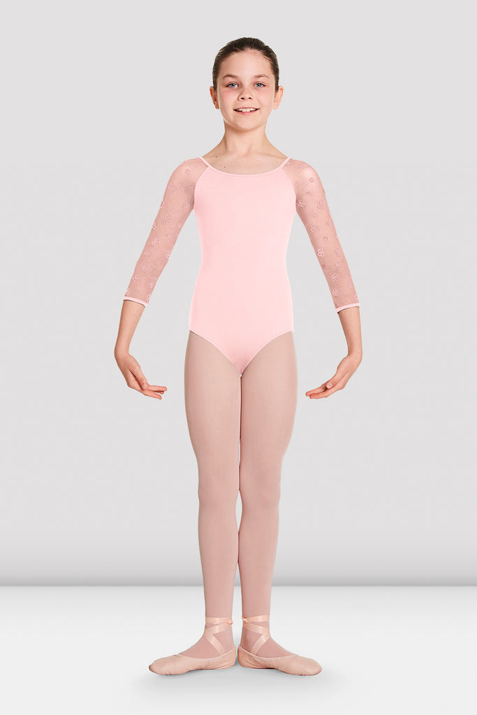 Girls Nalaia Mesh Long Sleeve Leotard