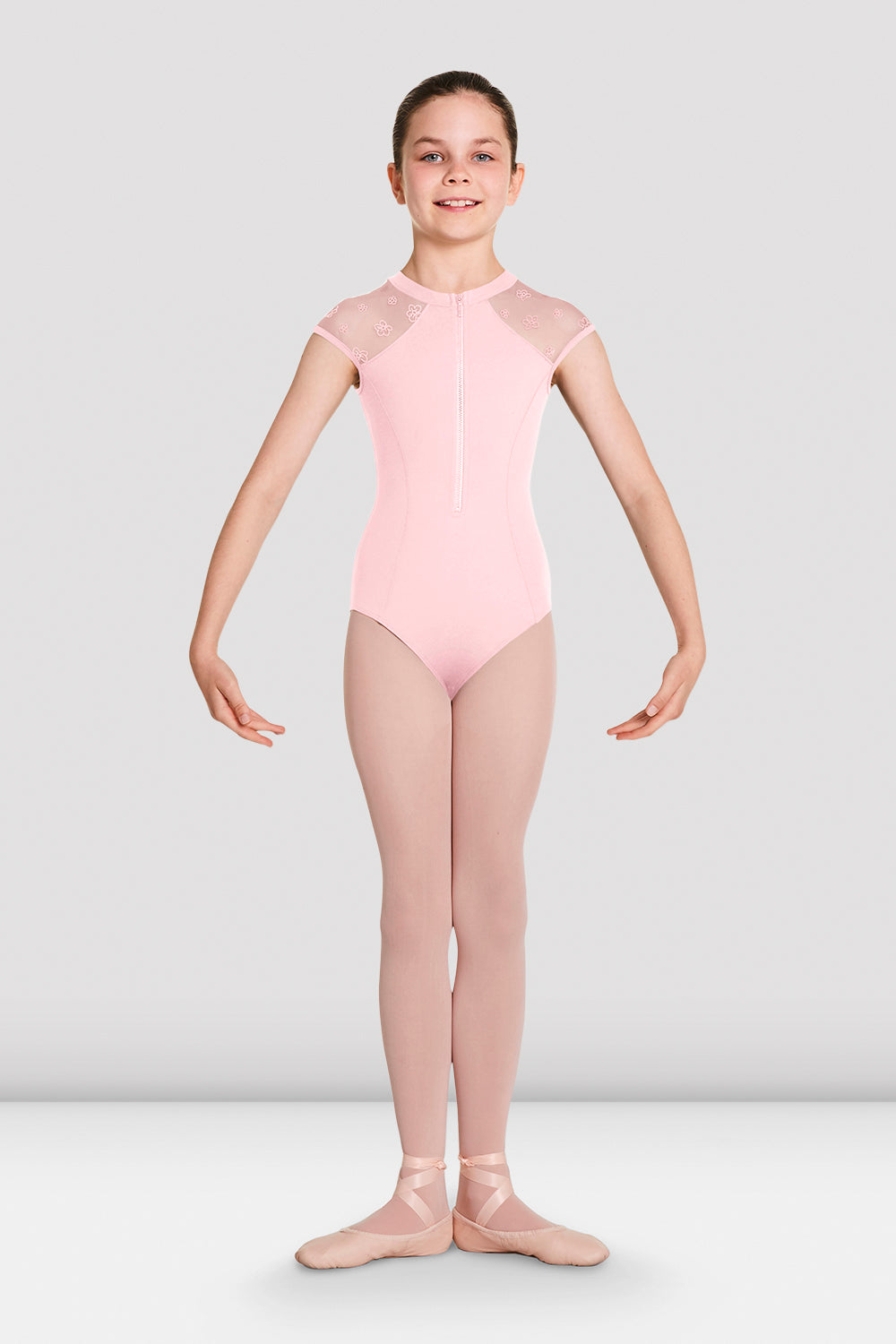 Girls Petrina Zip Front High Neck Leotard