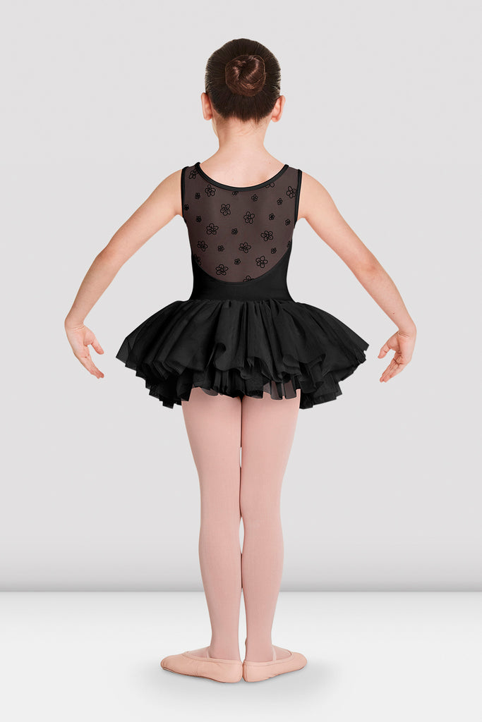 Black Bloch Girls Aiko Tutu Tank Leotard on female model in first in first postion with arms in demi bras facing back