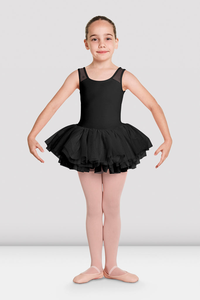 Black Bloch Girls Aiko Tutu Tank Leotard on female model in first in first postion with arms in demi bras