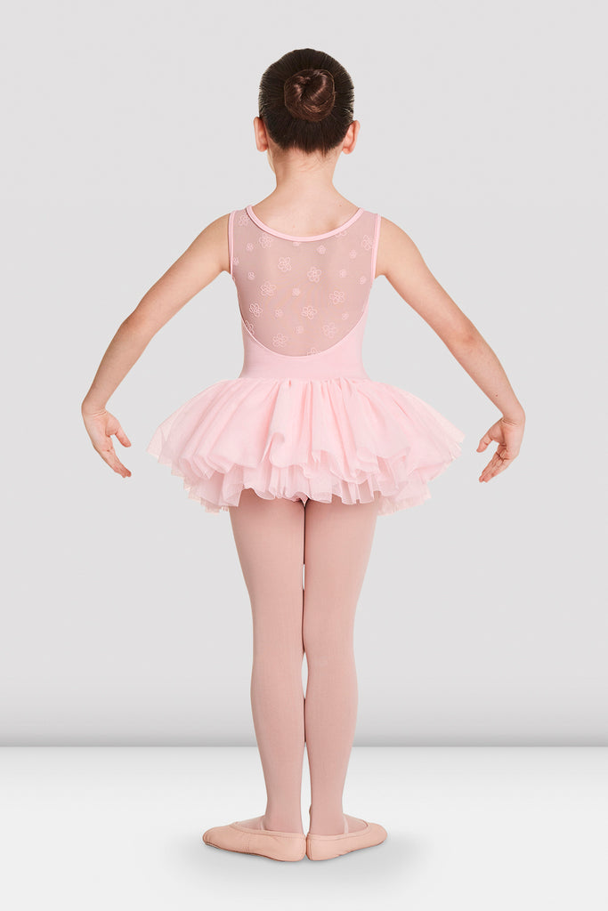 Candy Pink Bloch Girls Aiko Tutu Tank Leotard on female model in first in first postion with arms in demi bras facing back