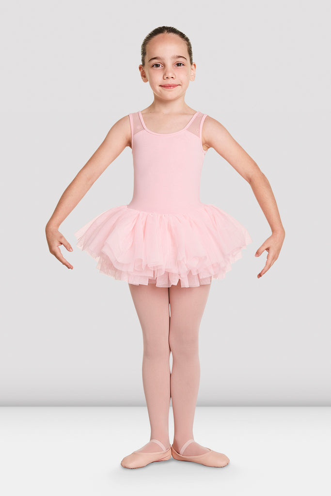 Candy Pink Bloch Girls Aiko Tutu Tank Leotard on female model in first in first postion with arms in demi bras