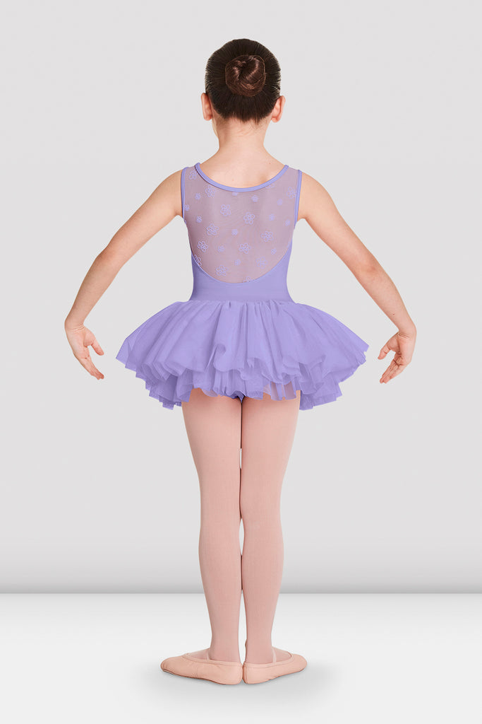 Lilac Bloch Girls Aiko Tutu Tank Leotard on female model in first in first postion with arms in demi bras facing back