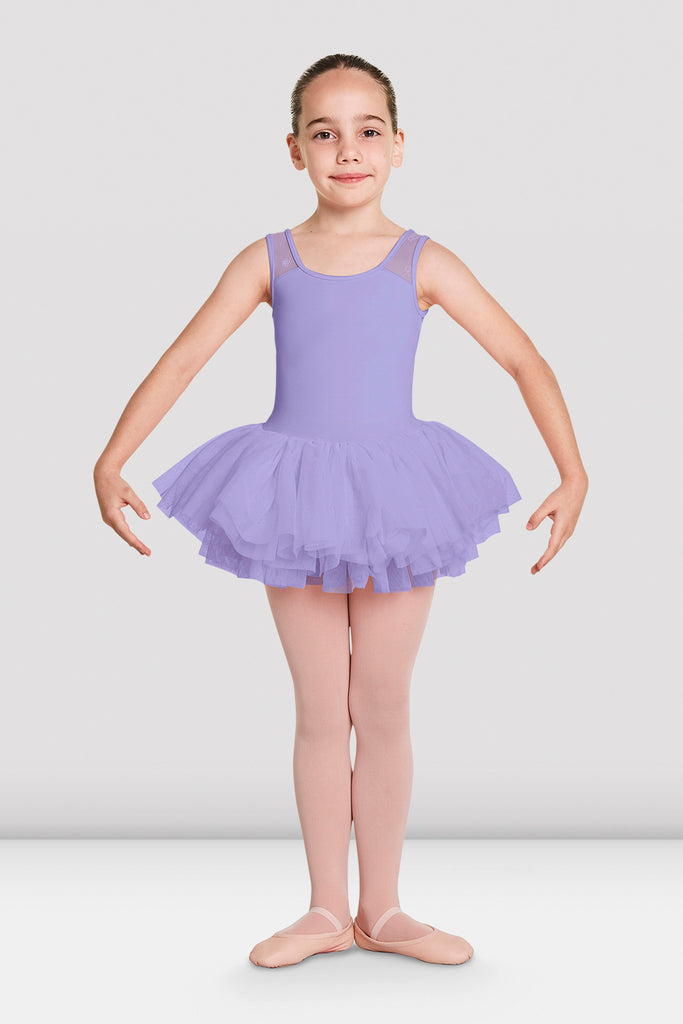 Lilac Bloch Girls Aiko Tutu Tank Leotard on female model in first in first postion with arms in demi bras