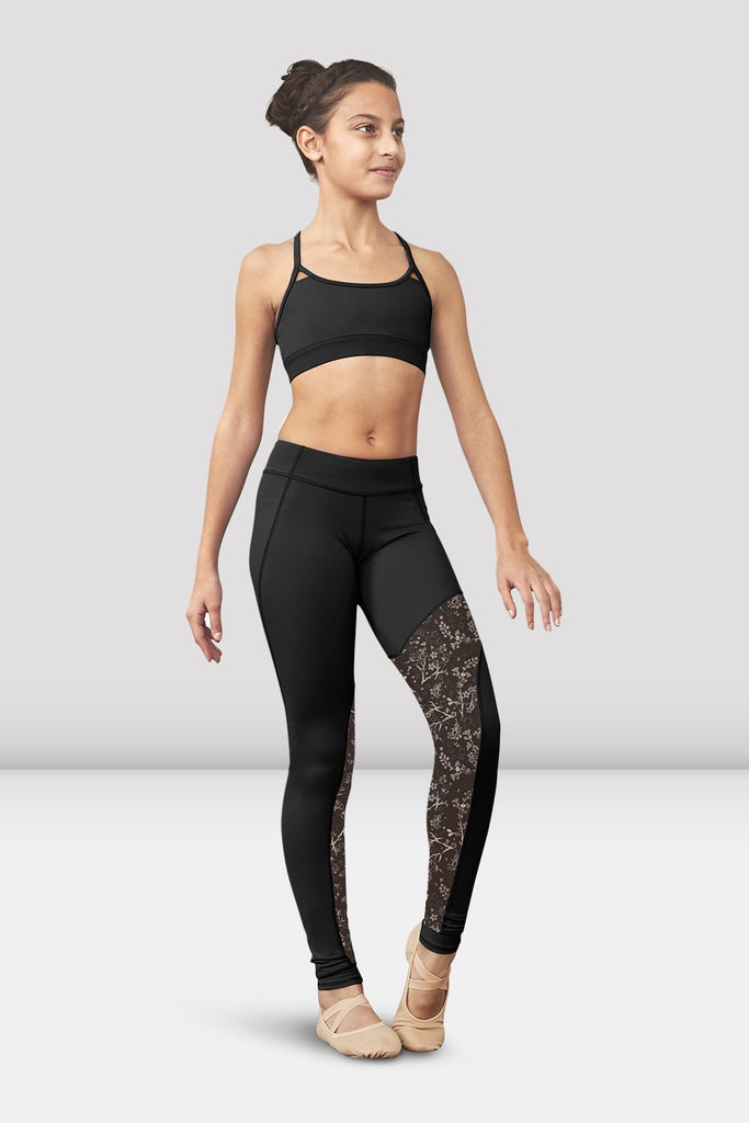 Black Bloch Girls Romi Printed Mesh Panel Stirrup Legging on female model left level beveled facing downstage left